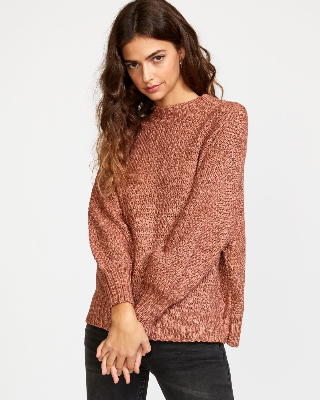 1 Volt Knit Mock Neck Sweater Brown WV05VRVO RVCA