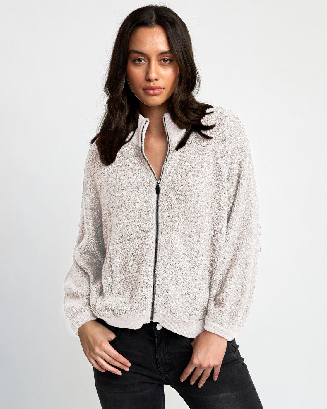 0 Erratic Zip-Up Knit Sweater Beige WV06WRER RVCA