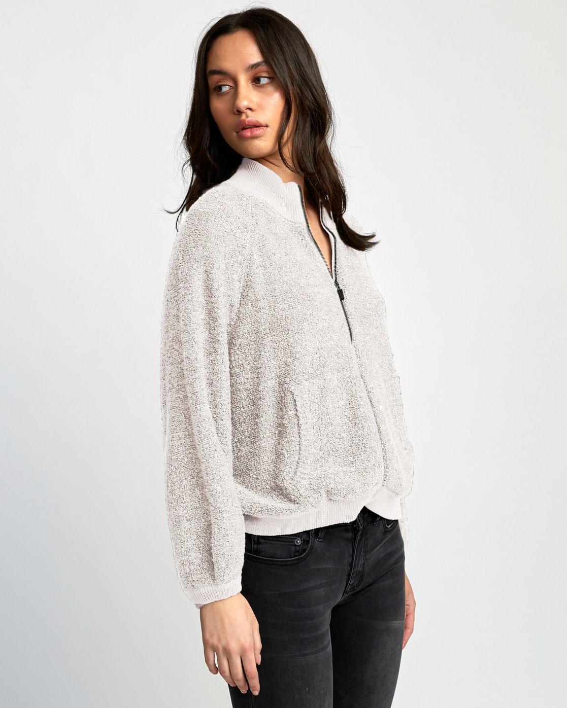 2 Erratic Zip-Up Knit Sweater Beige WV06WRER RVCA