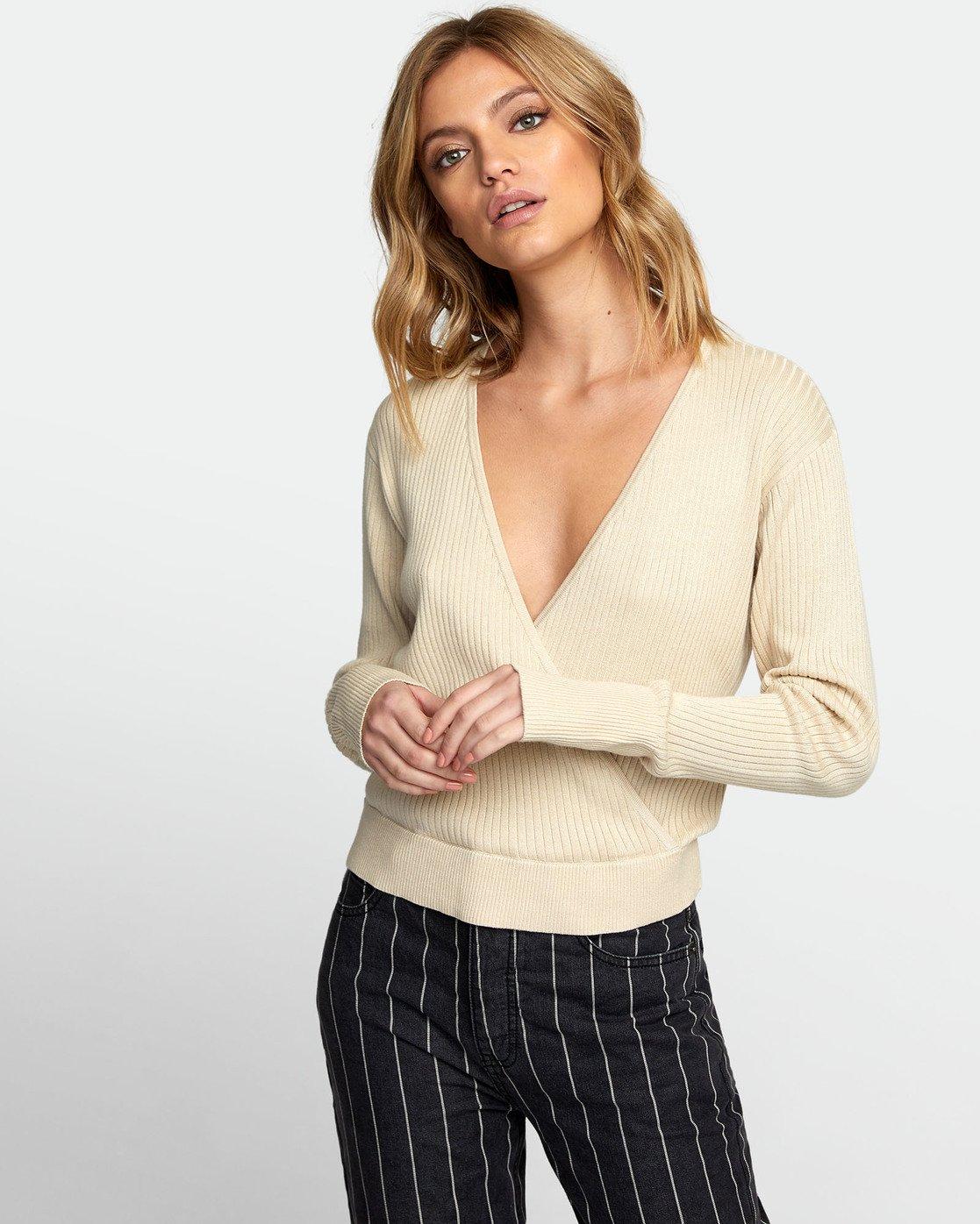 0 Pointed Surplice Sweater Brown WV07WRPO RVCA
