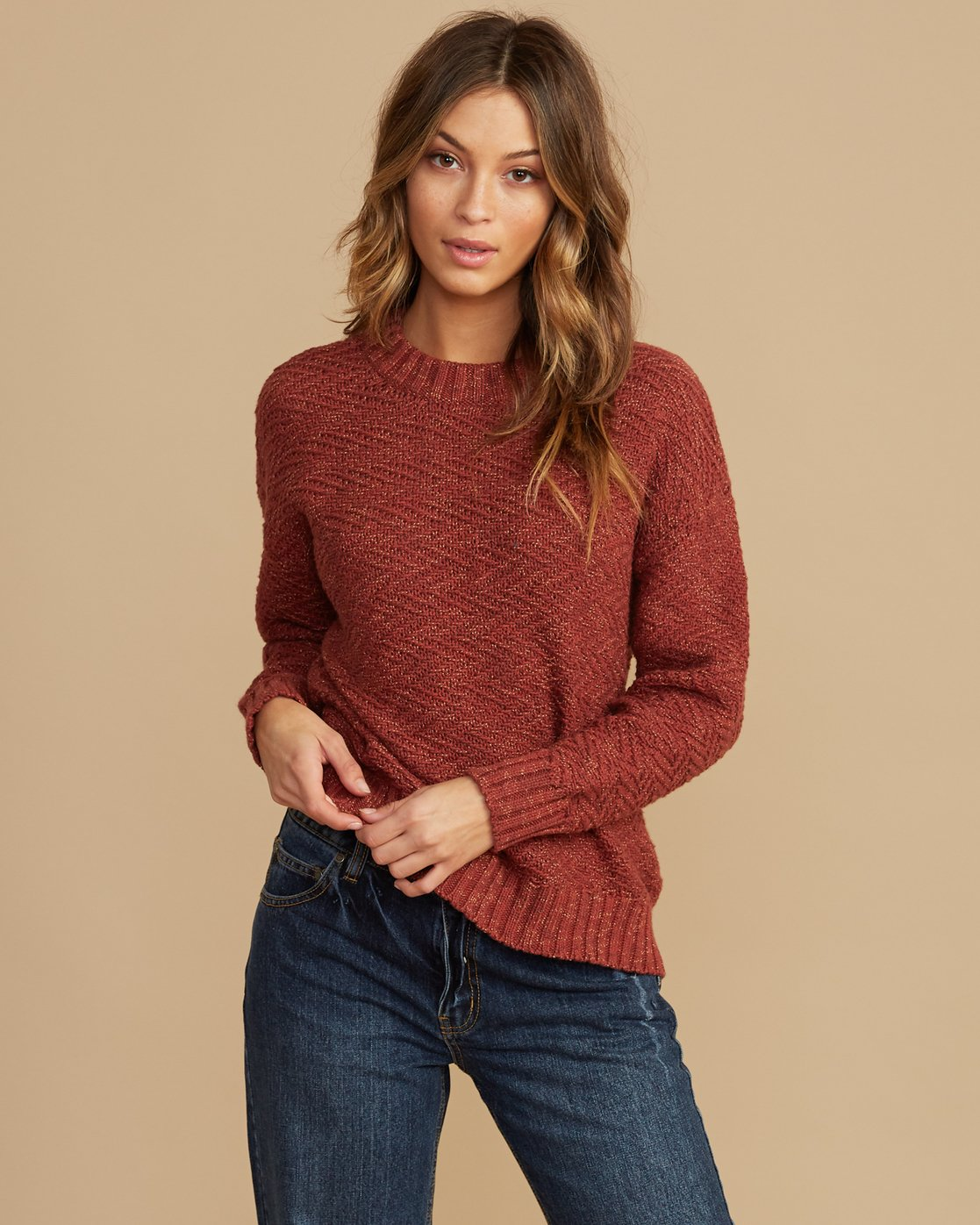 0 Zigged Knit Sweater Brown WV08QRZI RVCA
