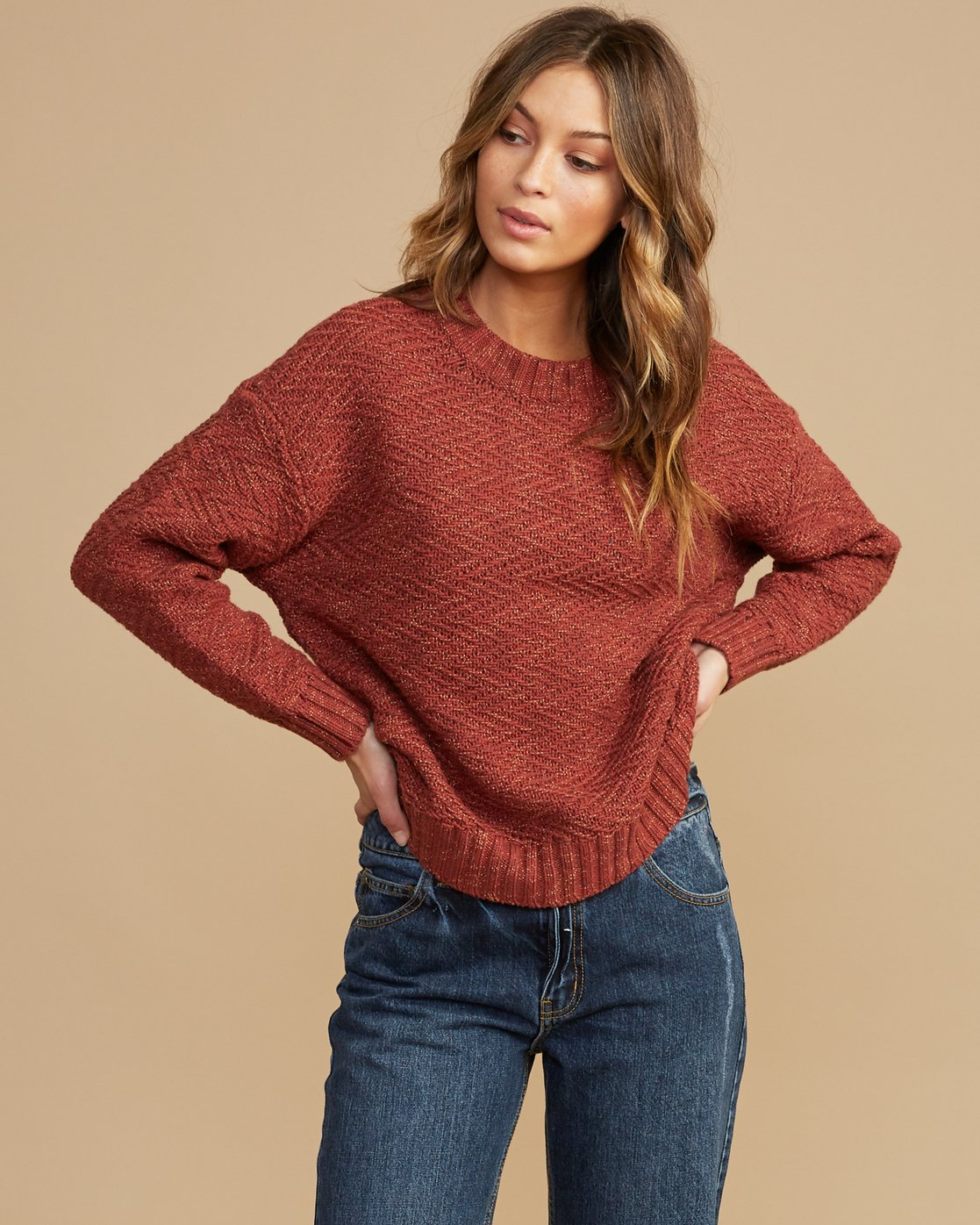 1 Zigged Knit Sweater Brown WV08QRZI RVCA