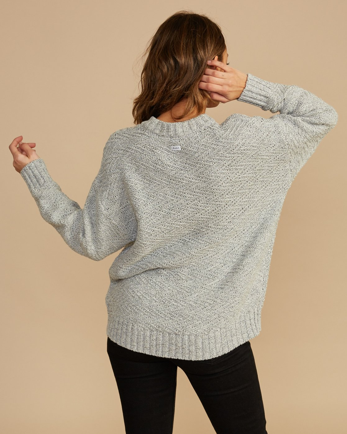 3 Zigged Knit Sweater Grey WV08QRZI RVCA