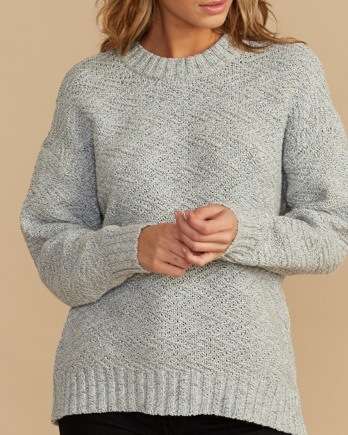 4 Zigged Knit Sweater Grey WV08QRZI RVCA