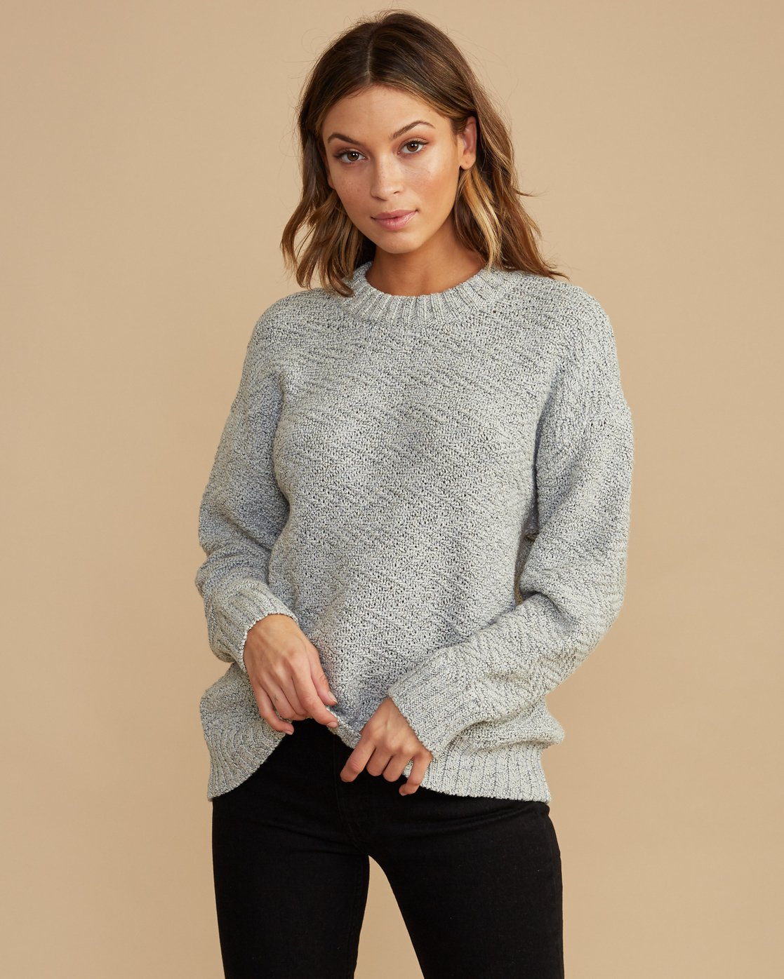 0 Zigged Knit Sweater Grey WV08QRZI RVCA