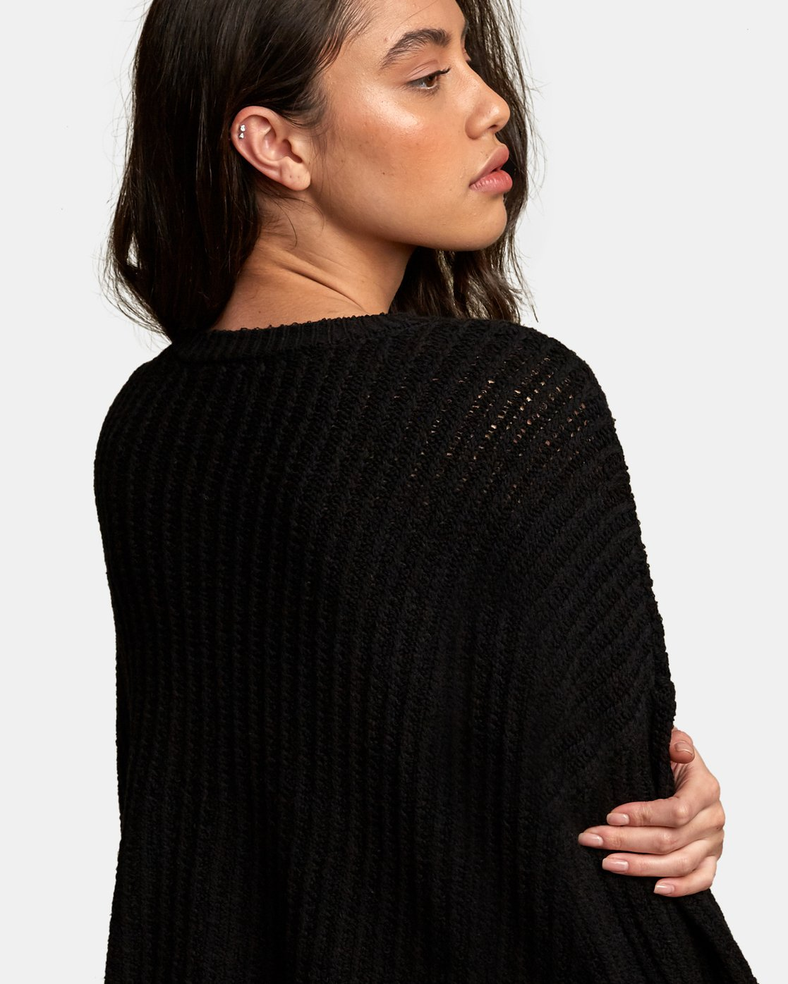 4 Louder Ribbed Knit Sweater Black WV11WRLO RVCA