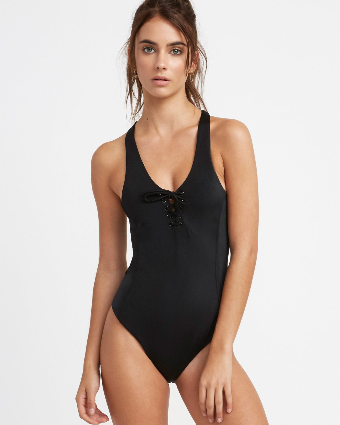 0 Solid Lace Front One Piece Swimsuit Black X101TRSO RVCA