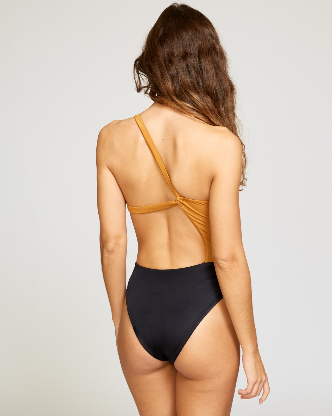 3 Solid Cut Out Cheeky One Piece Brown X104VRSO RVCA
