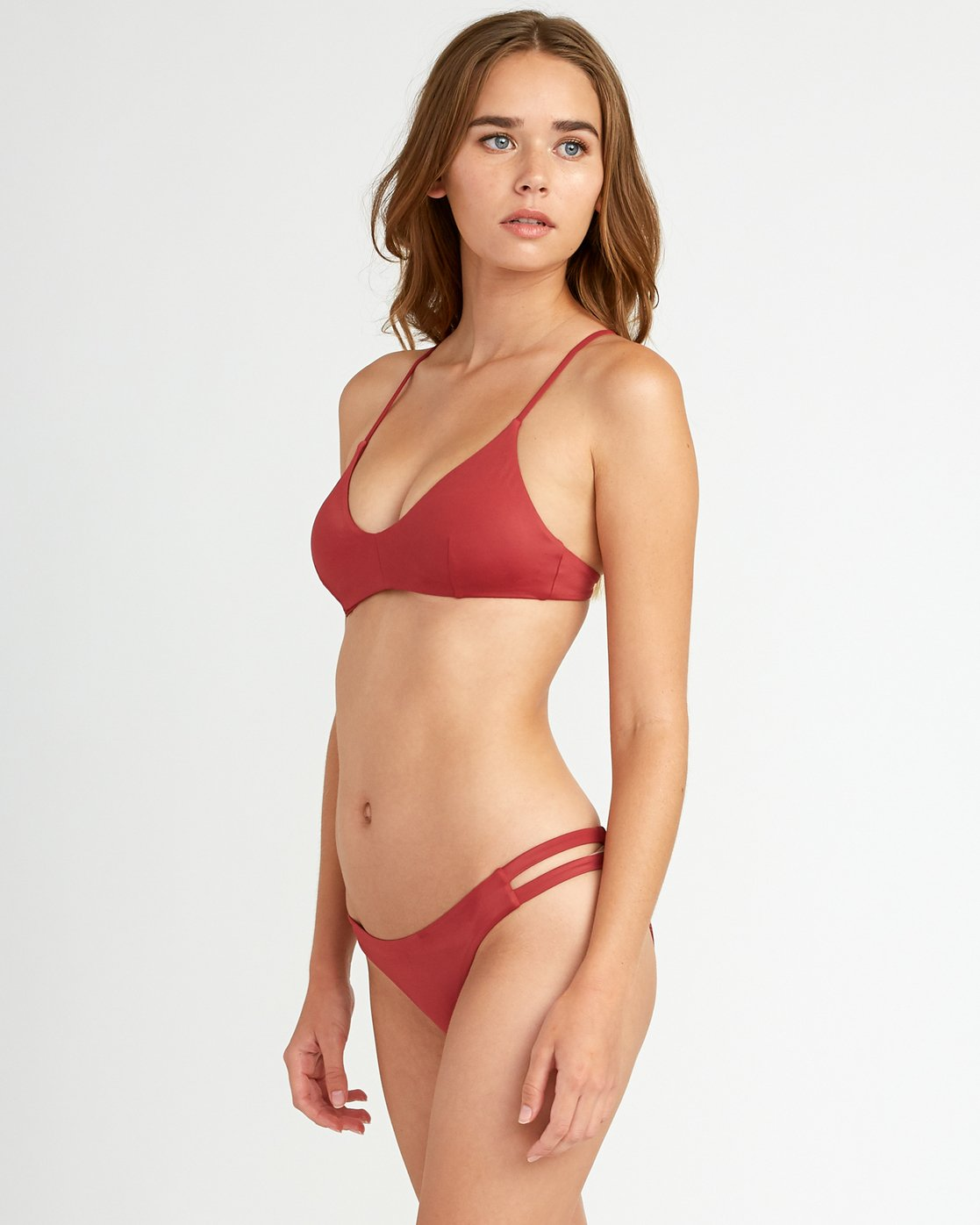 1 Solid Full Side Tab Bikini Bottoms Red XB02TRSF RVCA