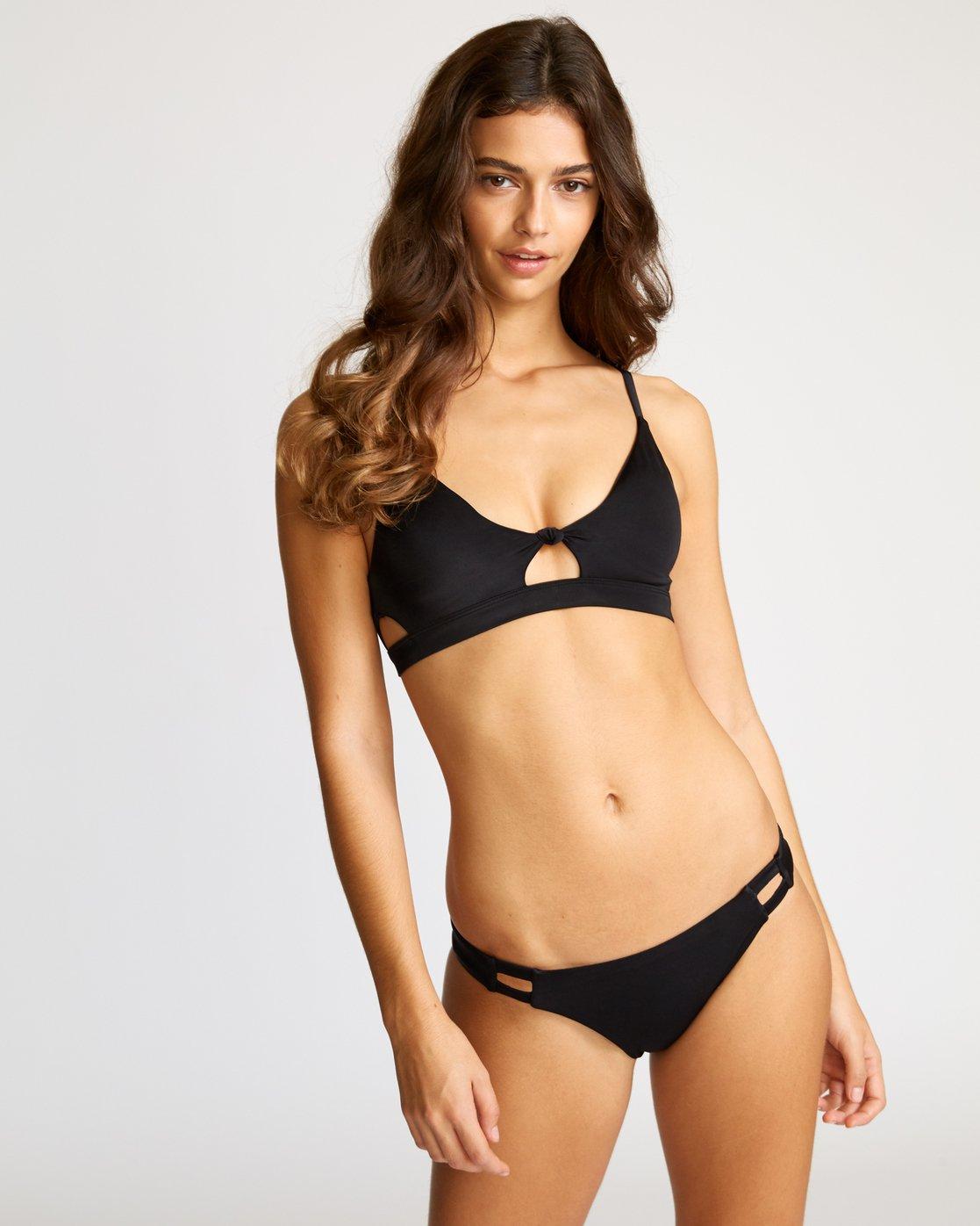 2 Solid Tab Medium Bikini Bottoms Black XB03VRSM RVCA