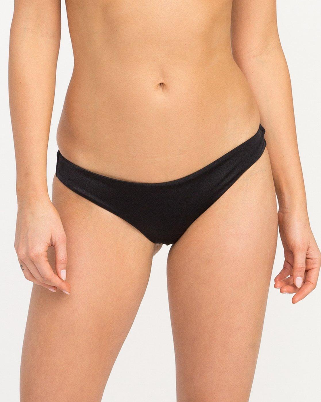 3 Solid Shimmer Cheeky Bikini Bottoms Black XB20QRSC RVCA