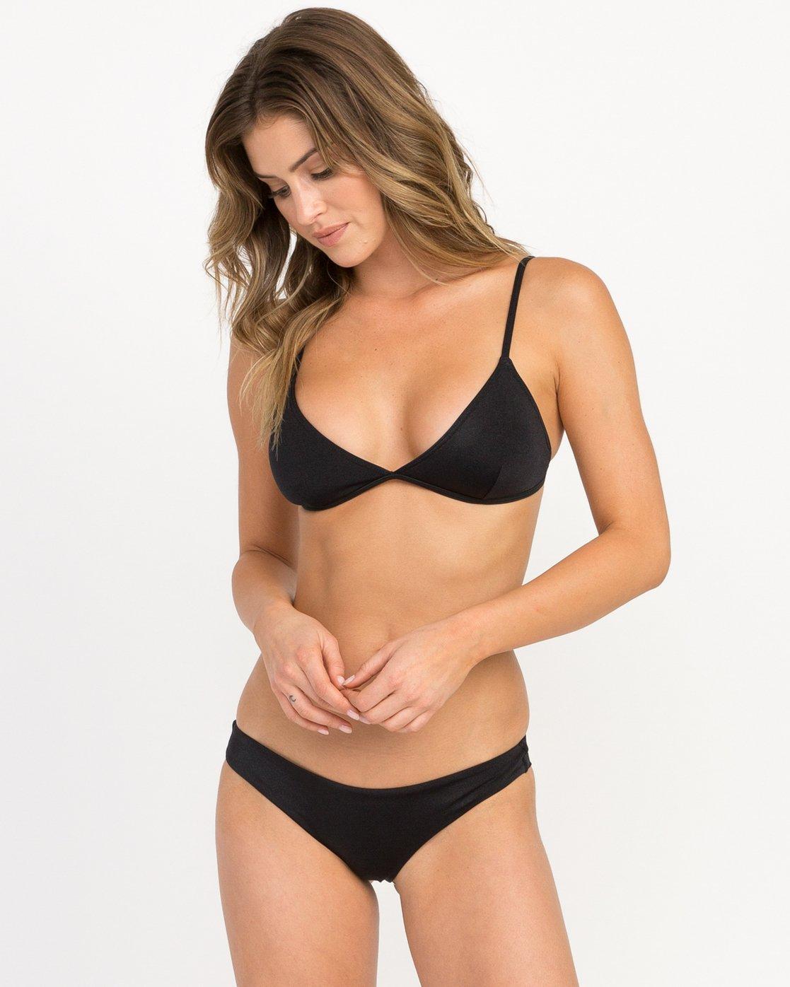 2 Solid Shimmer Cheeky Bikini Bottoms Black XB20QRSC RVCA