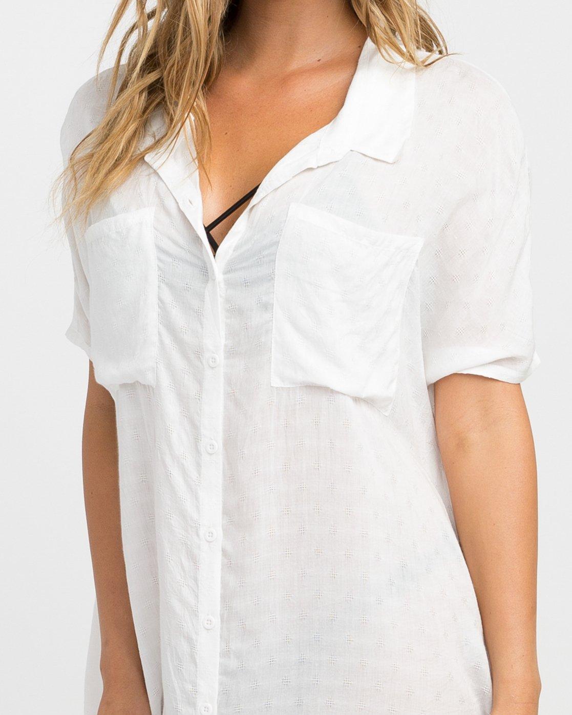 3 Shelton Button-Up Shirt Dress White XC01NRSH RVCA
