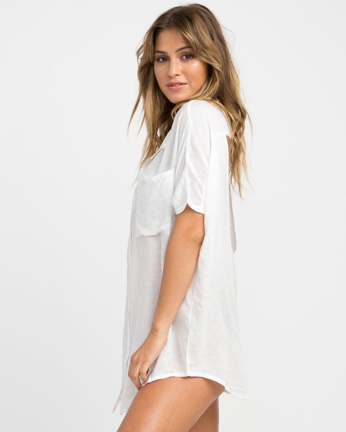 1 Shelton Button-Up Shirt Dress White XC01NRSH RVCA
