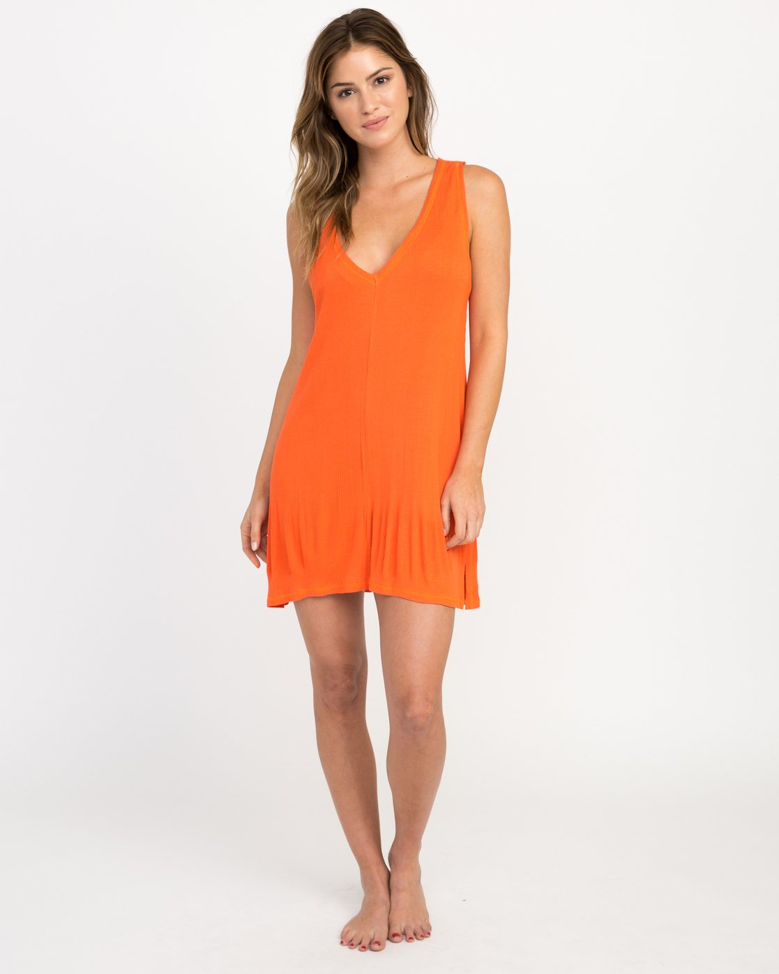 5 Leela Ribbed Cover-Up Dress Red XC03PRLE RVCA