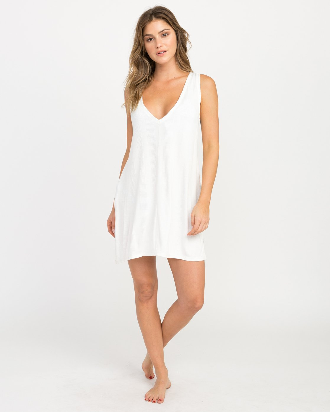 4 Leela Ribbed Cover-Up Dress White XC03PRLE RVCA