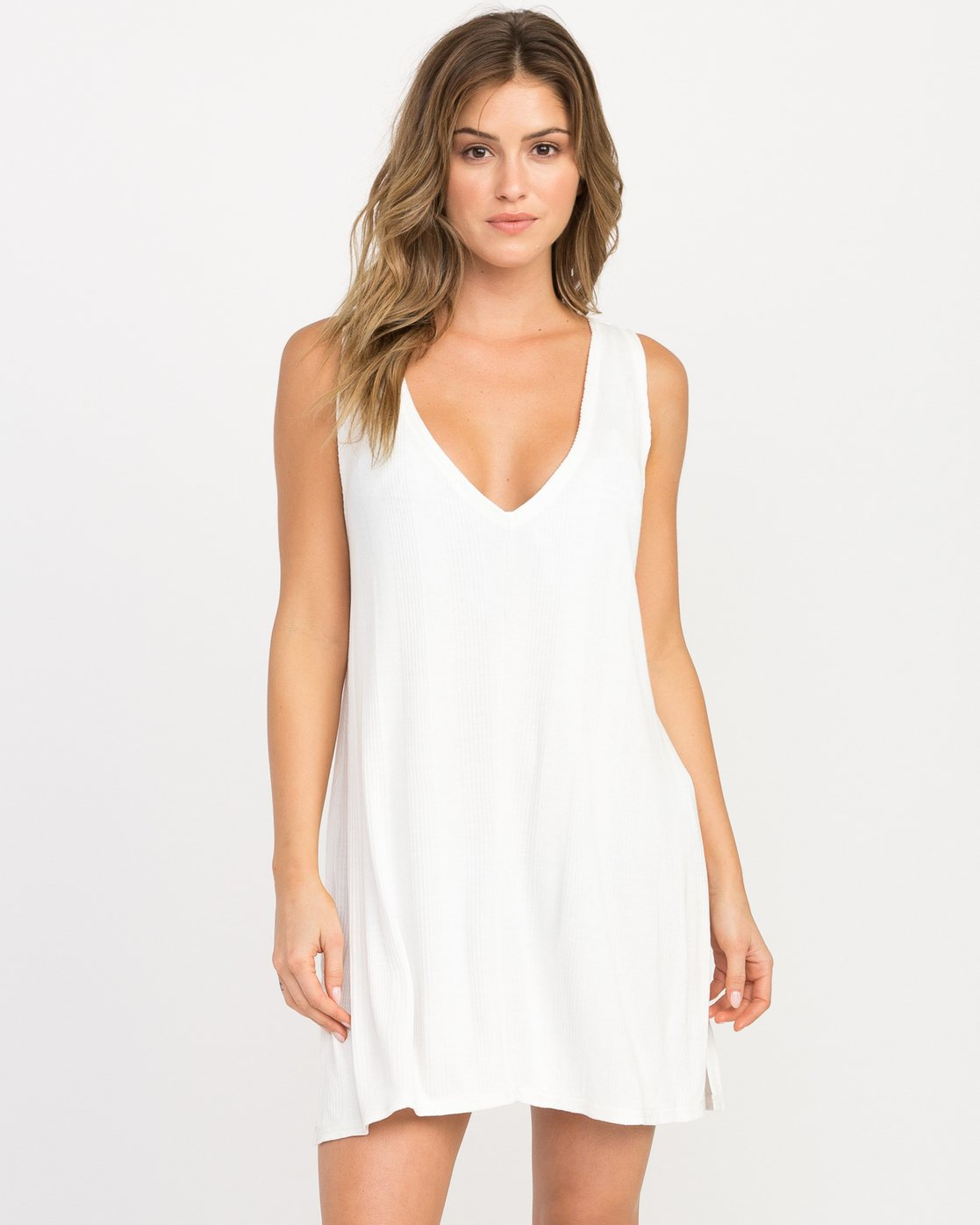 1 Leela Ribbed Cover-Up Dress White XC03PRLE RVCA