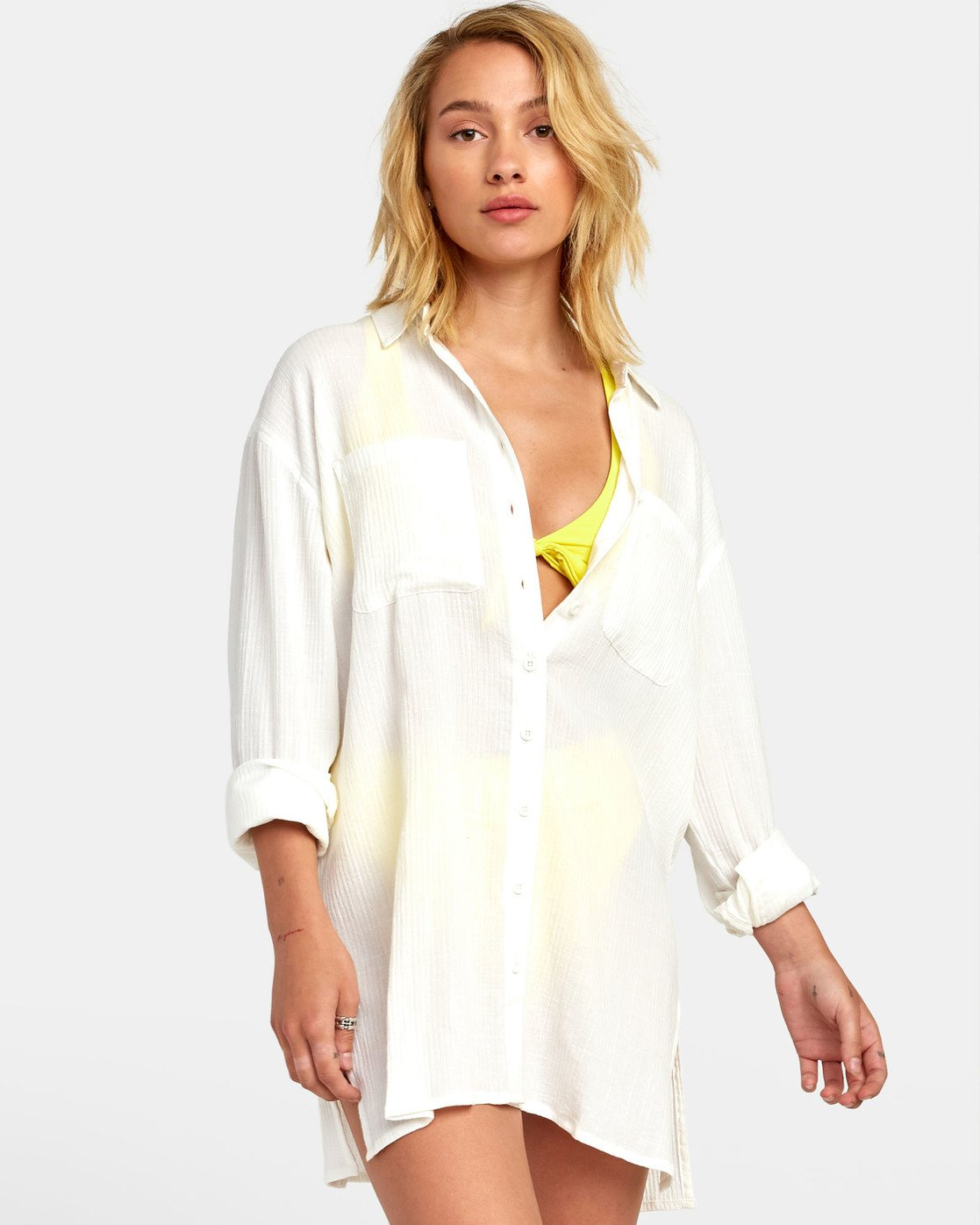 3 SUNDANCE OVERSIZED SHIRT DRESS White XC051RSU RVCA