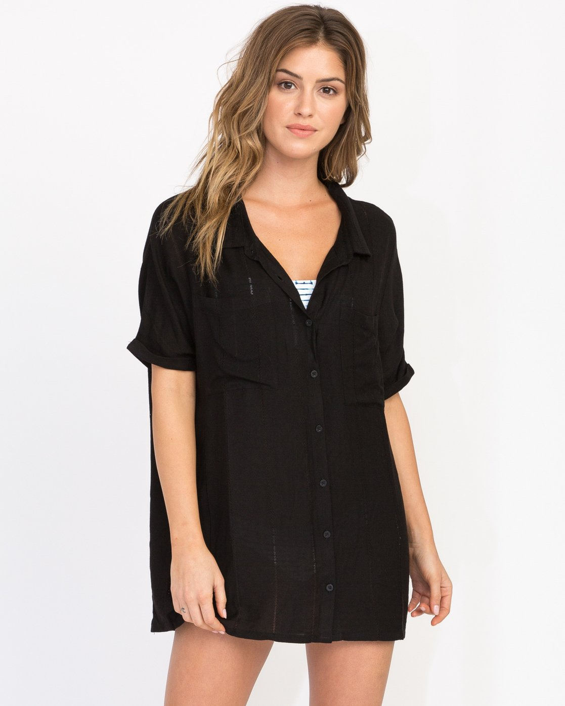 0 And Then Tunic Shirt Dress Black XC05PRAN RVCA