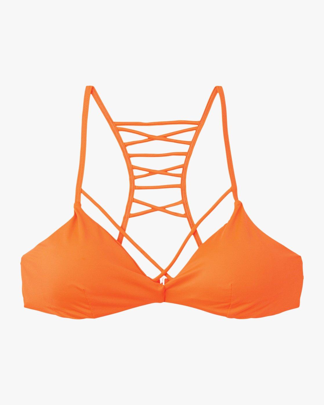 5 Solid Strappy Bralette Bikini Top Red XT01NRSB RVCA