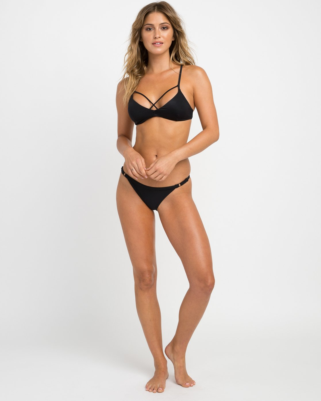 5 Solid Strappy Bralette Bikini Top Black XT01NRSB RVCA