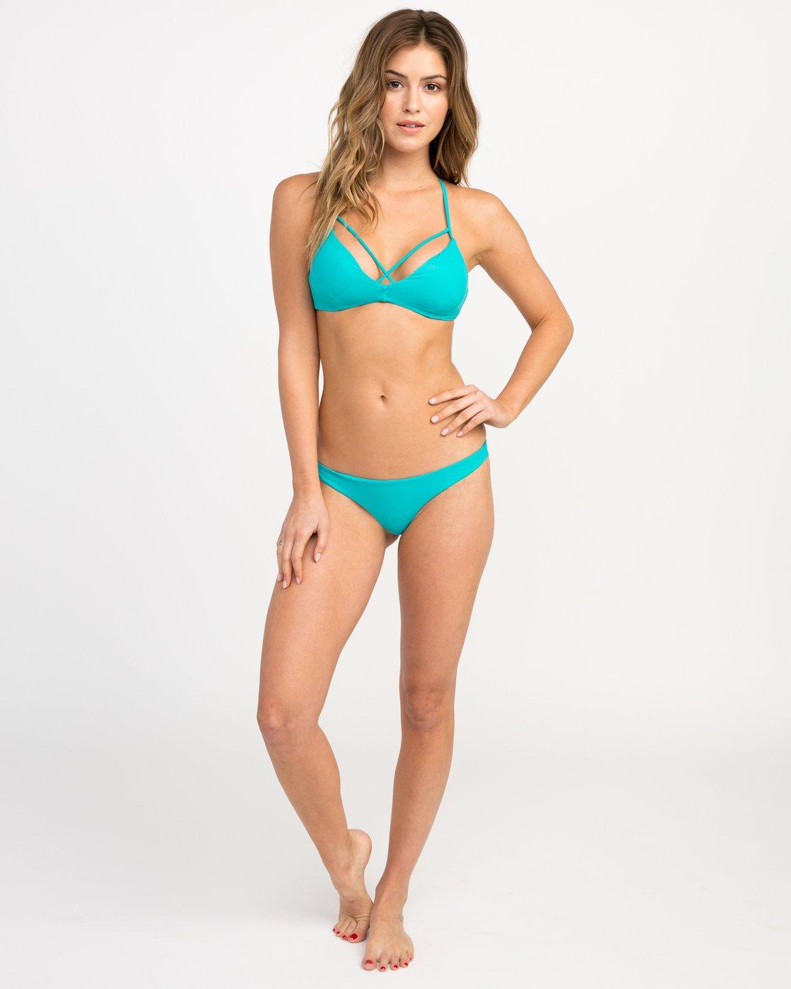 4 Solid Strappy Bralette Bikini Top Blue XT01NRSB RVCA
