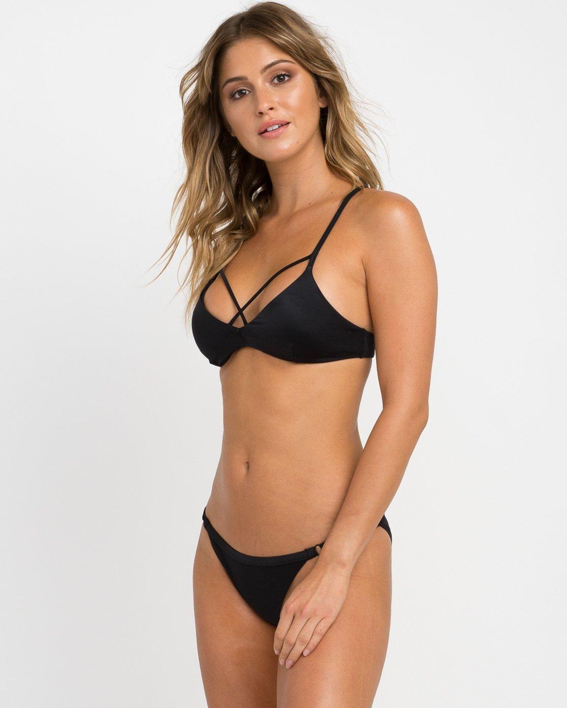 1 Solid Strappy Bralette Bikini Top Black XT01NRSB RVCA