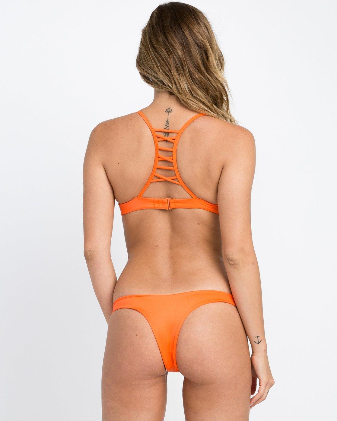 2 Solid Strappy Bralette Bikini Top Red XT01NRSB RVCA