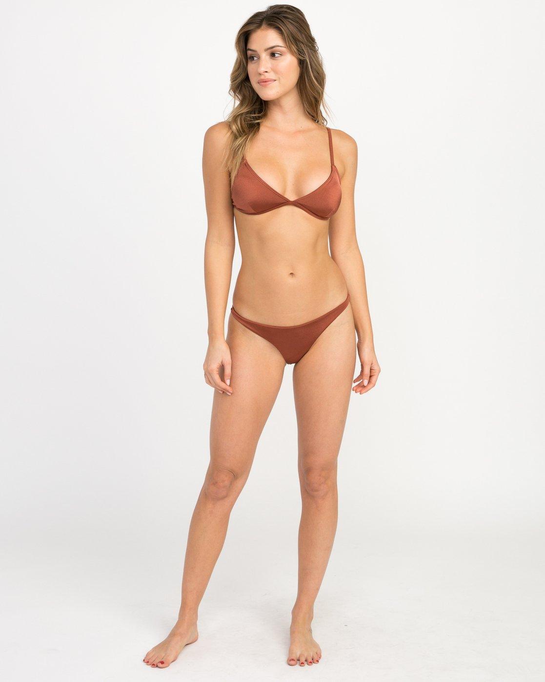 4 Solid Shimmer Triangle Bikini Top Brown XT01QRST RVCA