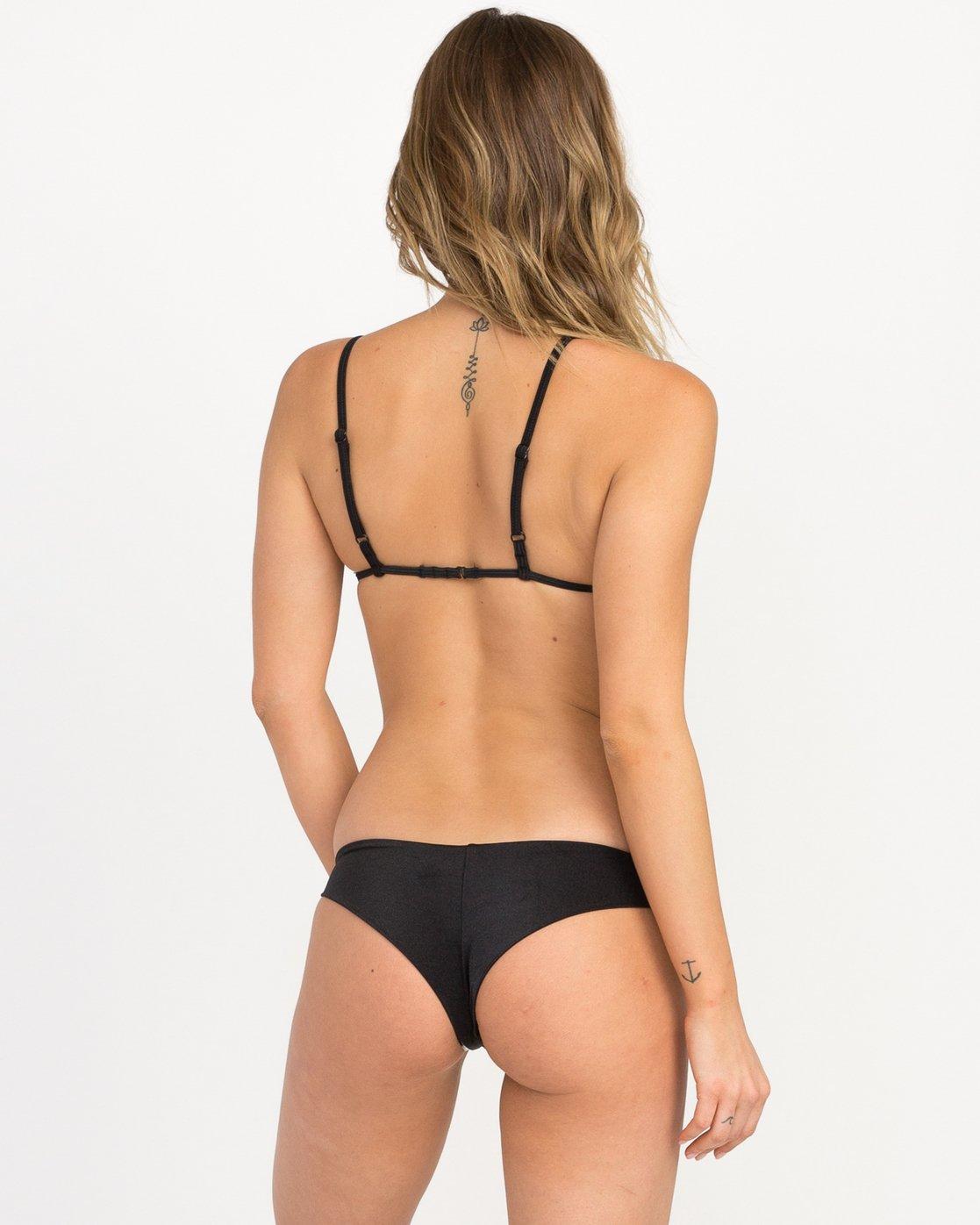 2 Solid Shimmer Triangle Bikini Top Black XT01QRST RVCA