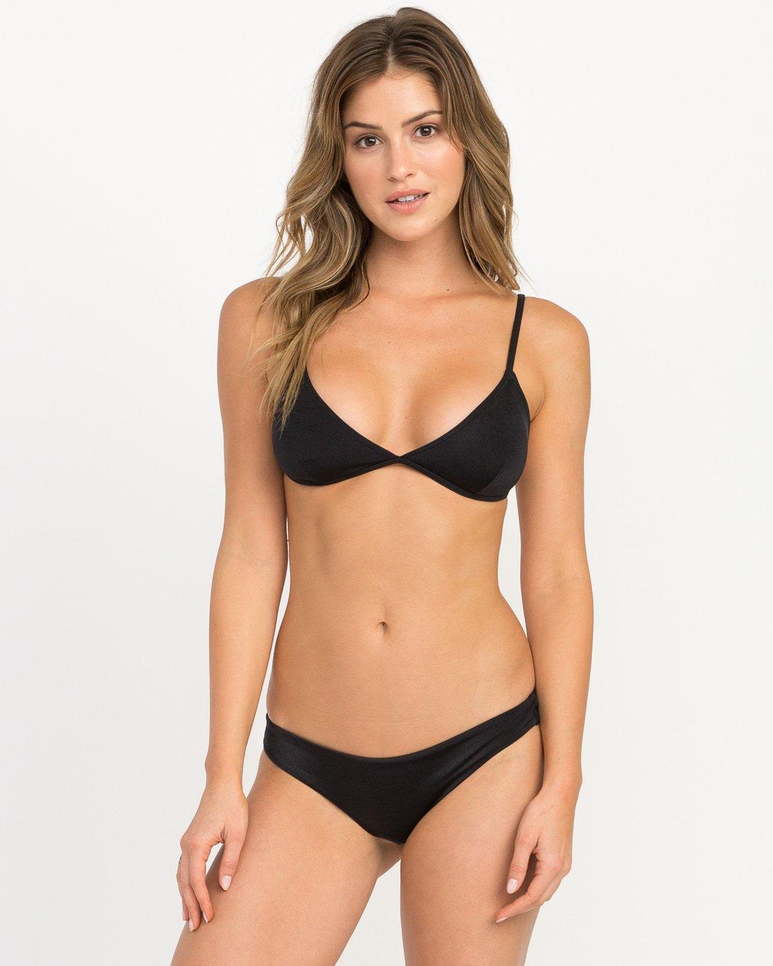 0 Solid Shimmer Triangle Bikini Top Black XT01QRST RVCA