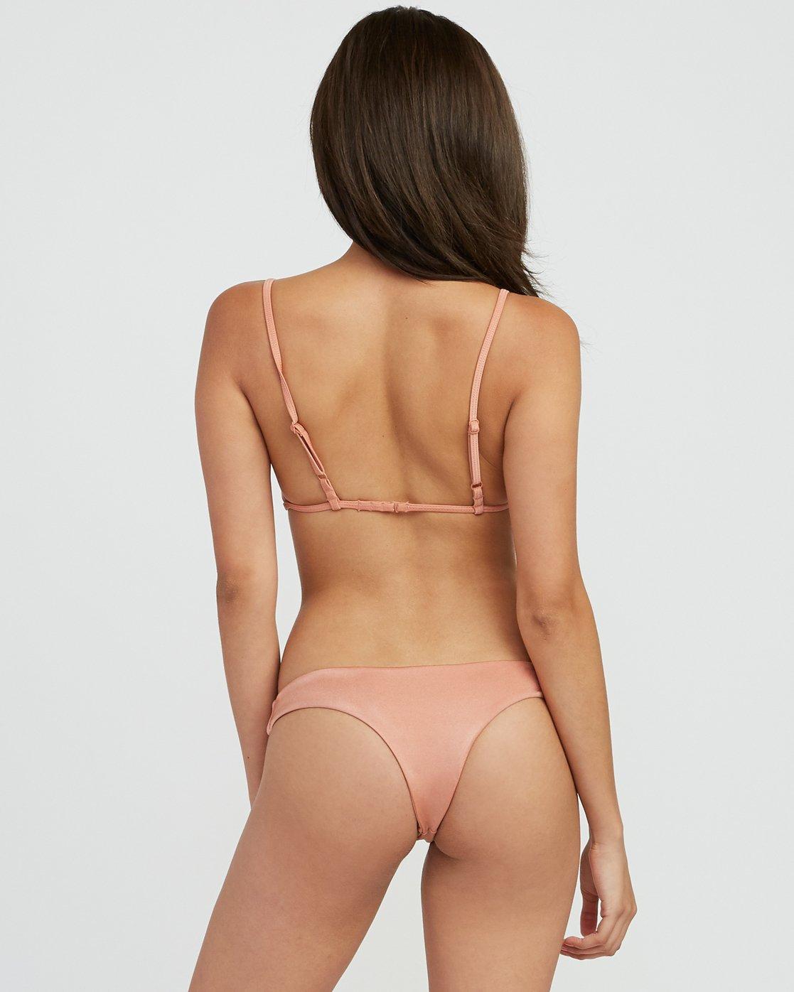2 Solid Shimmer Triangle Bikini Top Beige XT01QRST RVCA