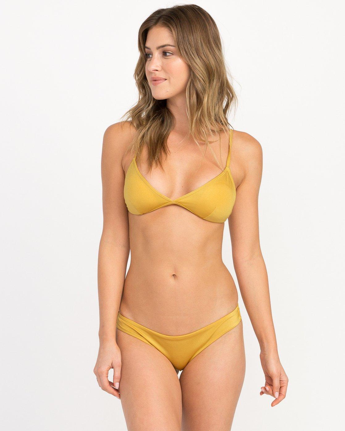 0 Solid Shimmer Triangle Bikini Top Multicolor XT01QRST RVCA