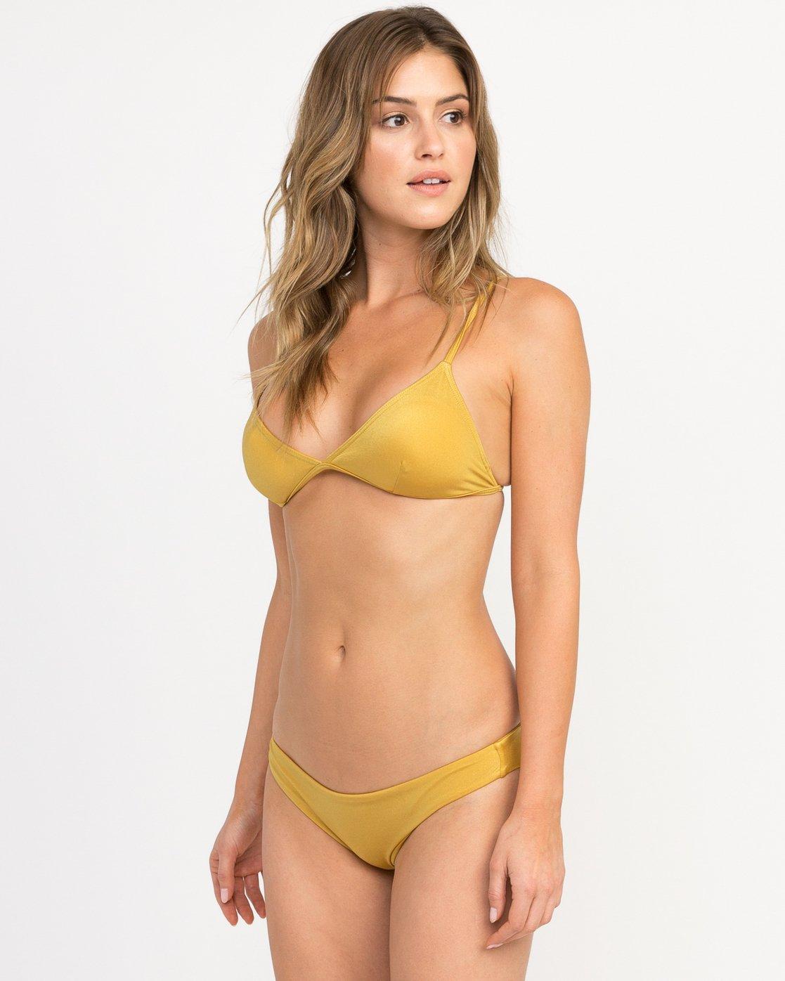 1 Solid Shimmer Triangle Bikini Top Multicolor XT01QRST RVCA