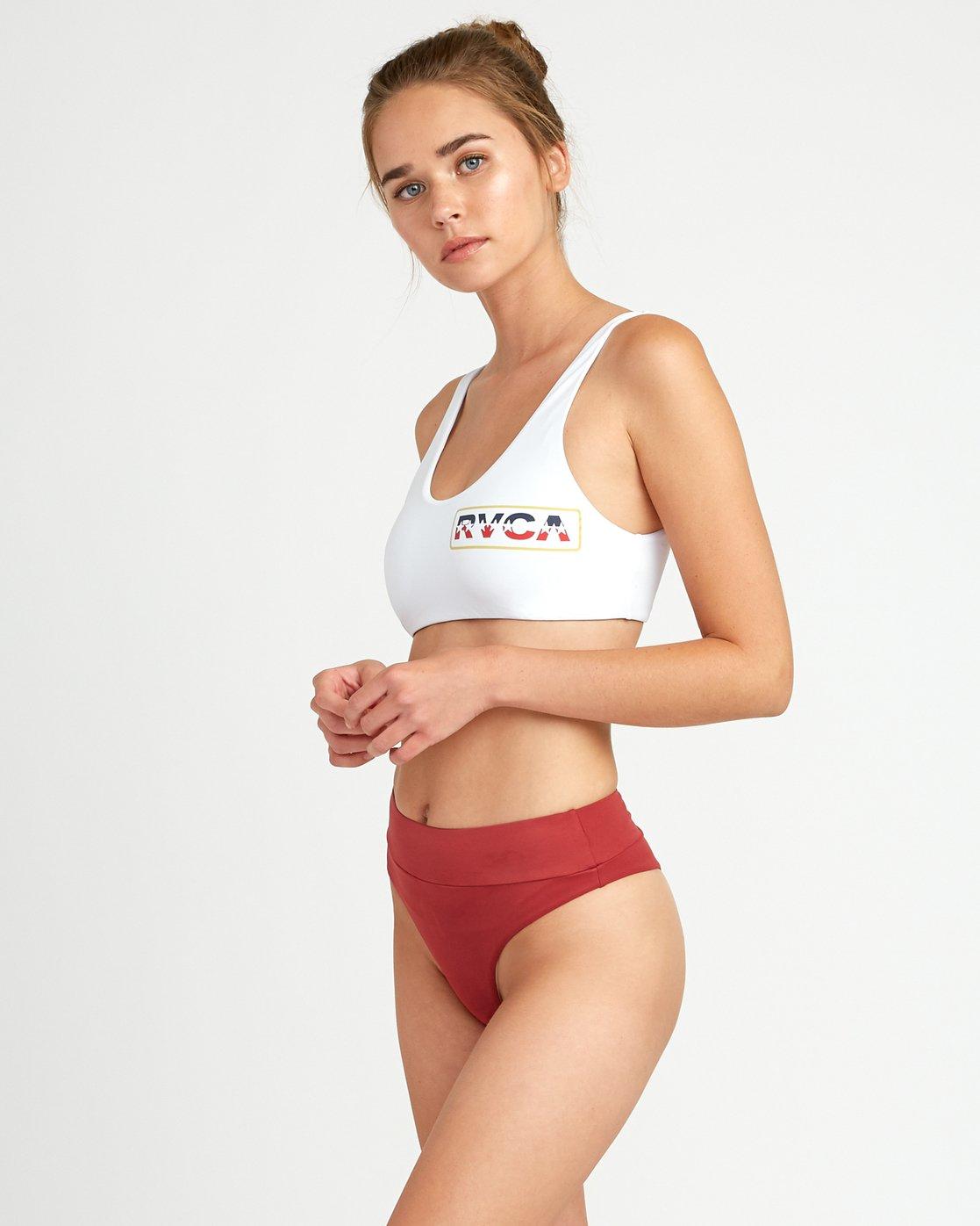 1 Solid Bikini Crop Top White XT01TRCT RVCA