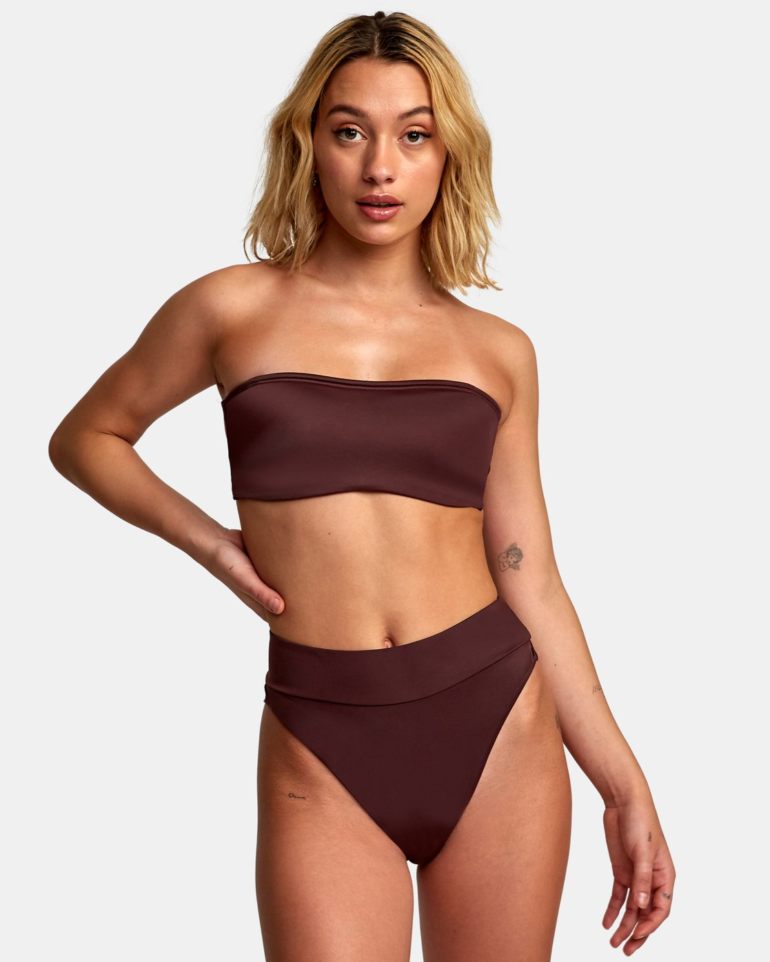 0 Solid Bandeau Bikini Top Brown XT01WRSB RVCA