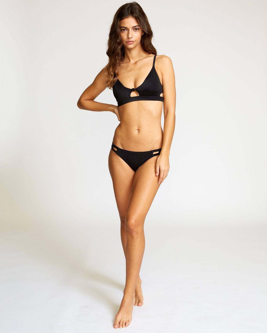 4 Solid Knot Bralette Bikini Top Black XT02URST RVCA
