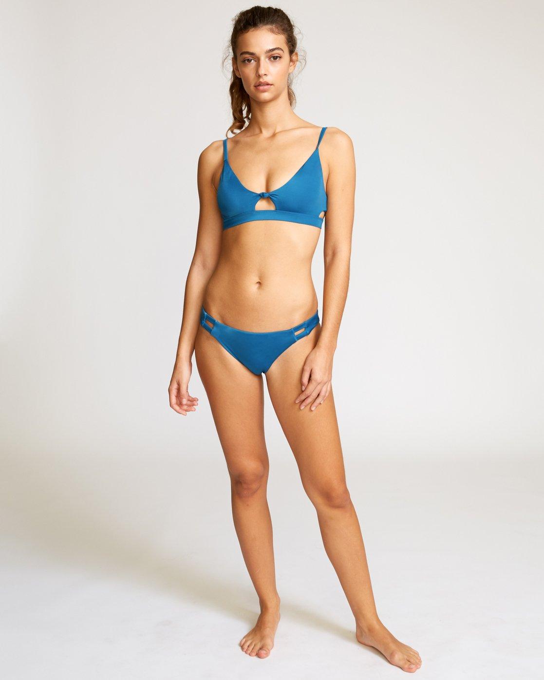 5 Solid Knot Bralette Bikini Top Blue XT02URST RVCA
