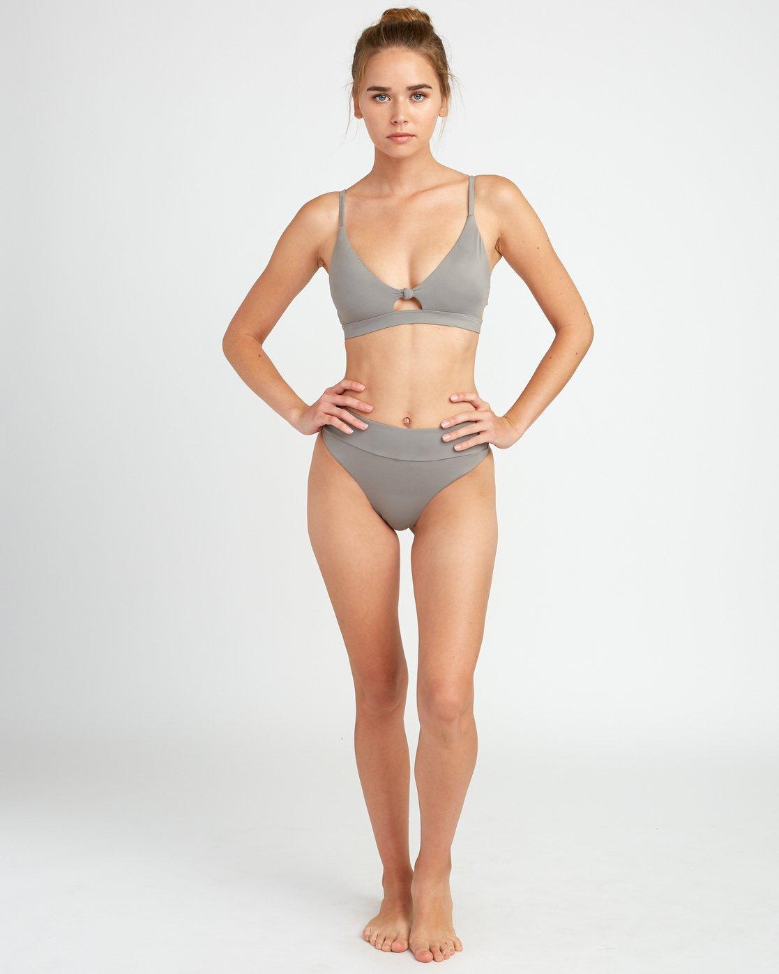 4 Solid Knot Bralette Bikini Top Blue XT02URST RVCA
