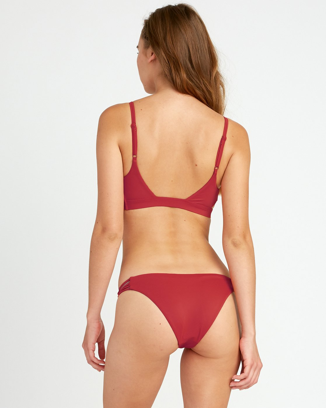 2 Solid Knot Bralette Bikini Top Red XT02URST RVCA