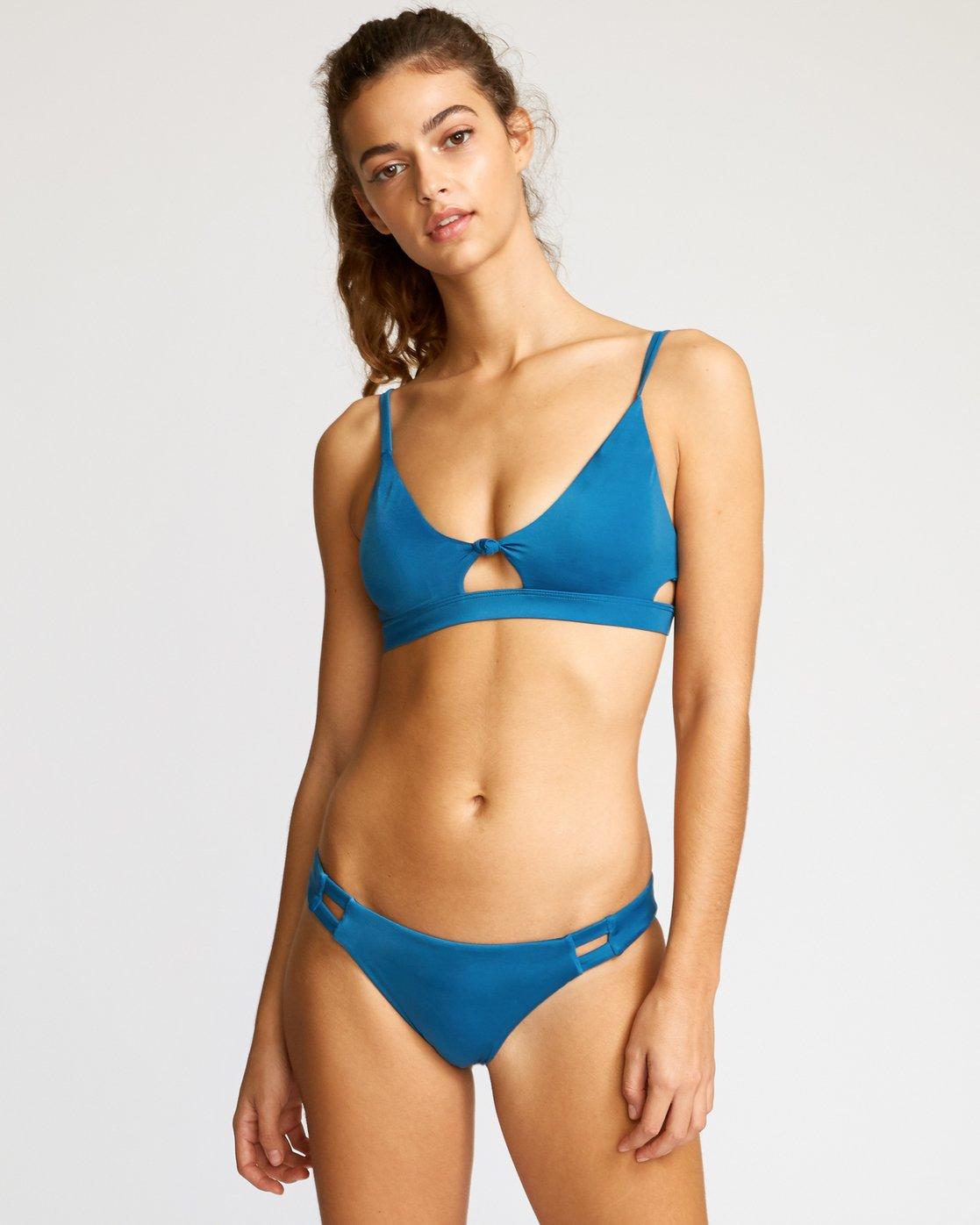 1 Solid Knot Bralette Bikini Top Blue XT02URST RVCA