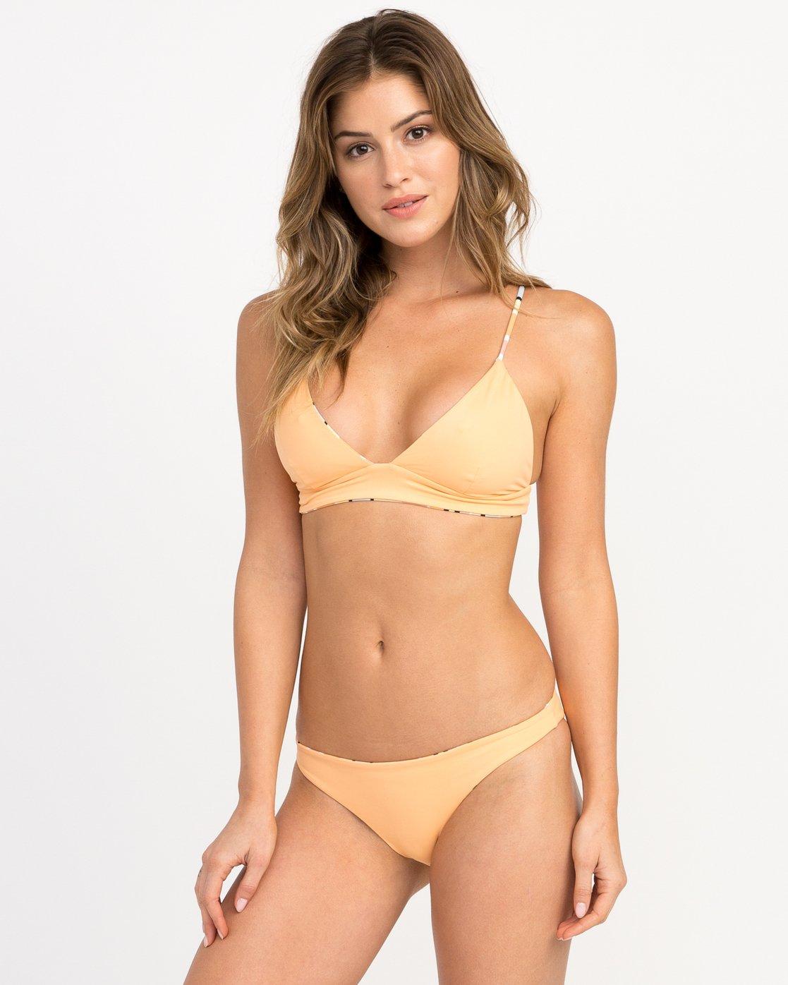 1 Horizon Reversible Stripe Triangle Bikini Top Orange XT05PRRT RVCA