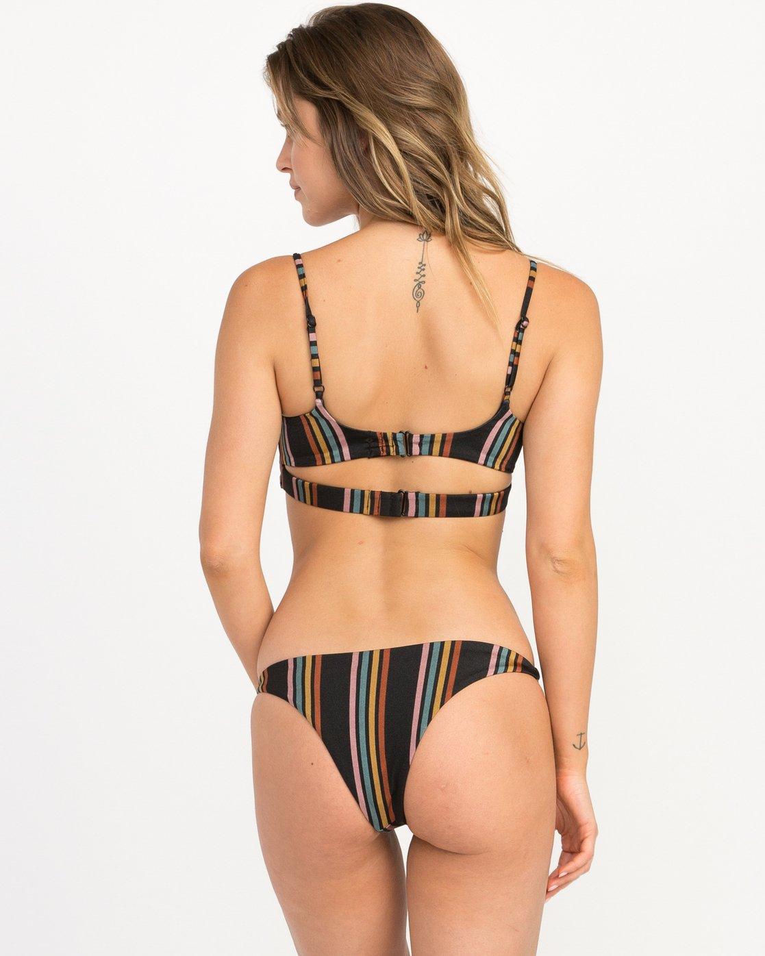 2 Side Line Striped Bandeau Bikini Top Black XT05QRSB RVCA