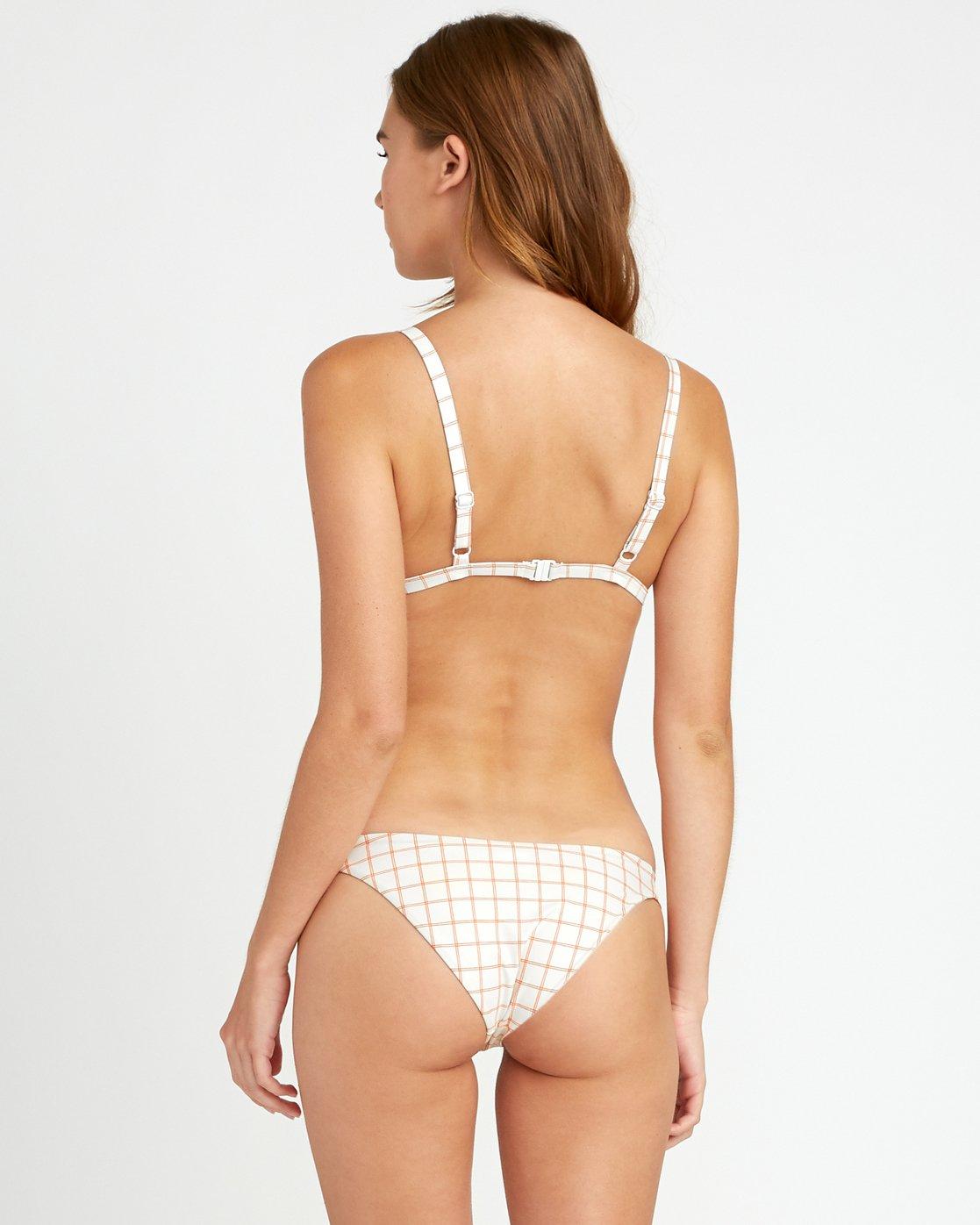 2 KLW Grid Tri Bralette Bikini Top White XT05URKB RVCA
