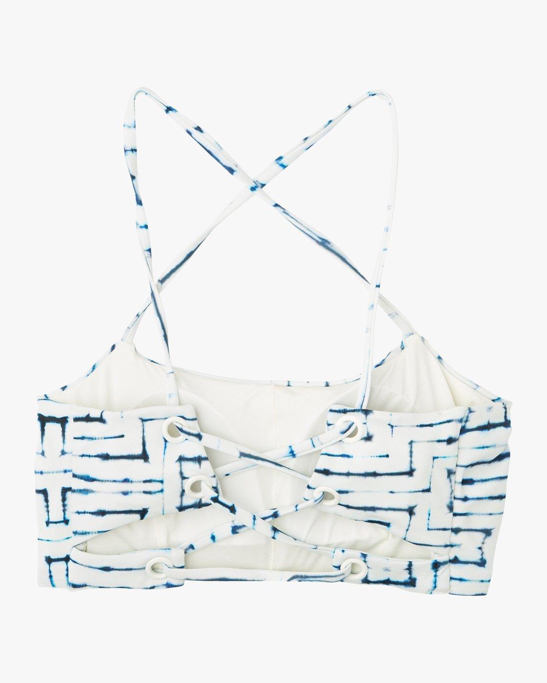 4 Tie Dye Tile Bandeau Bikini Top White XT16PRTC RVCA