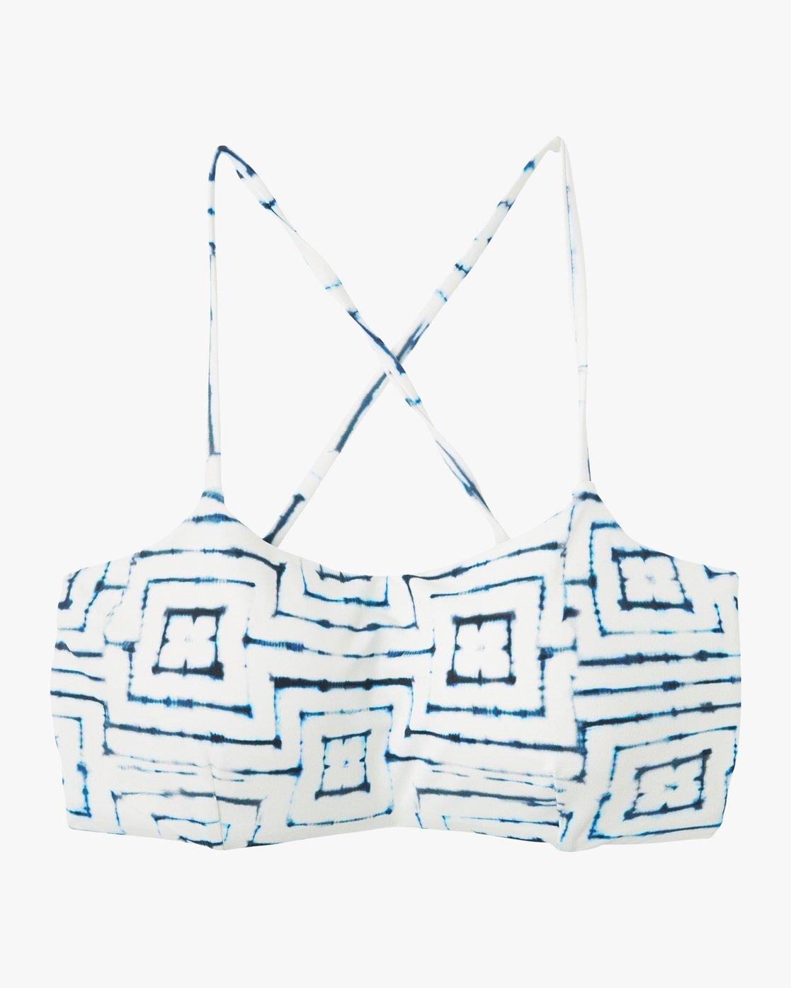 3 Tie Dye Tile Bandeau Bikini Top White XT16PRTC RVCA