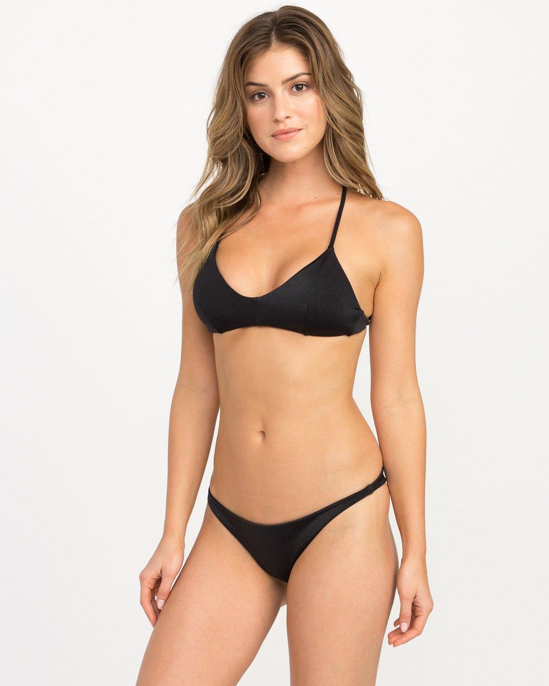 1 Solid Shimmer Crossback Bikini Top Black XT20QRSC RVCA
