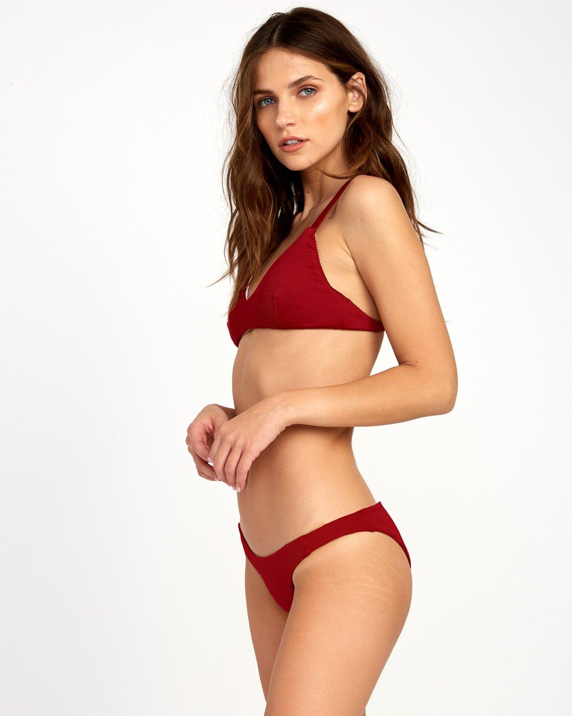 2 Fade Out Ribbed Bikini Top Red XT22VRFT RVCA