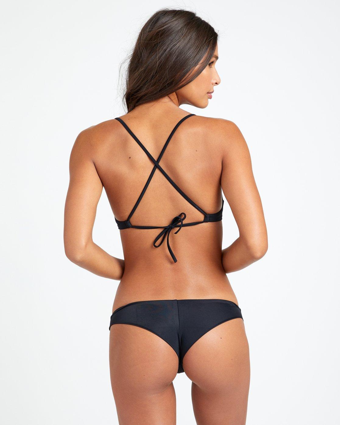 RVCA Womens Solid Cross Back Bikini Top