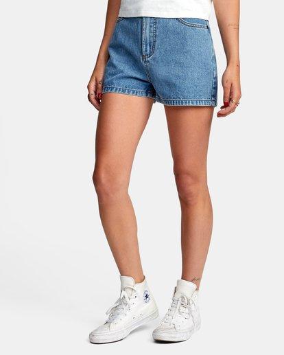 3 Azalea High Rise Denim Shorts Blue AVJDS00104 RVCA